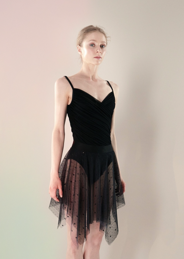 POLKA-TULLE - blush long square skirt - just a corpse