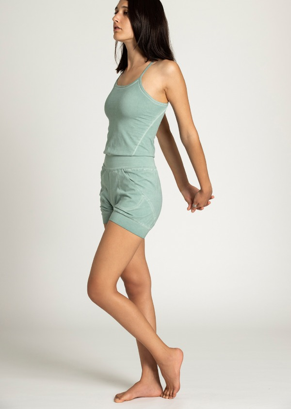 Short Stone Wash Yoga Jumpsuit - mint - NISARAT