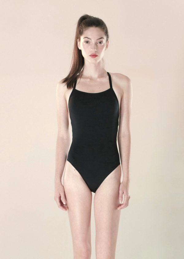 CHEVRON NATURAL - laced back leotard - black - NISARAT